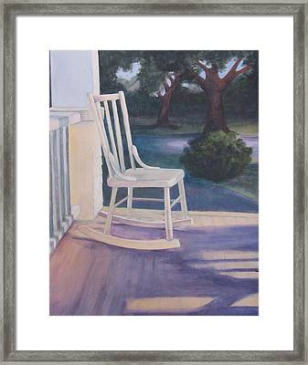 Welcoming Porch Rocker  Framed Print by Jo Thompson