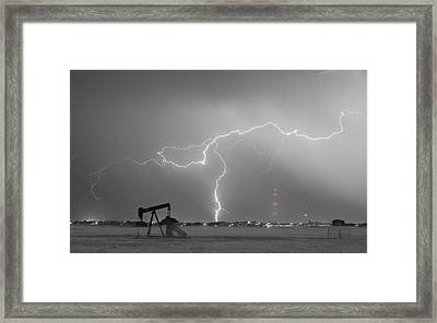 Weld County Dacona Oil Fields Lightning Thunderstorm Bwsc Framed Print by James BO  Insogna