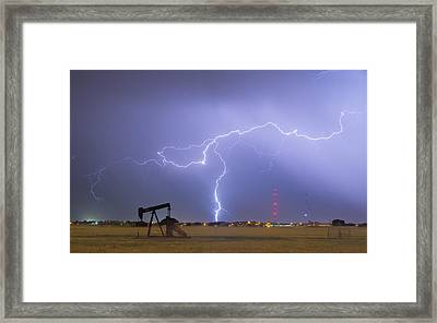 Weld County Dacona Oil Fields Lightning Thunderstorm Framed Print by James BO  Insogna
