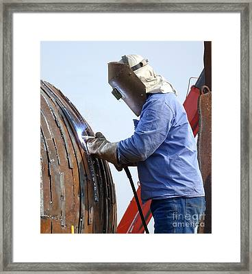 Welder At Work Using The Shielded Metal Arc Process Framed Print