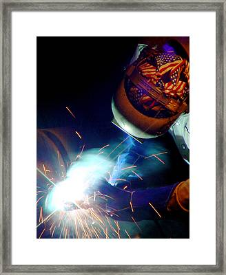 Welder On Times Square In Nyc Framed Print by Mieczyslaw Rudek Mietko