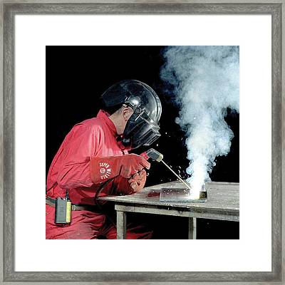 Welding Fumes Exposure Testing Framed Print by Crown Copyright/health & Safety Laboratory Science Photo Library