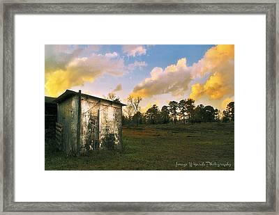 Old Well House And Golden Clouds Framed Print