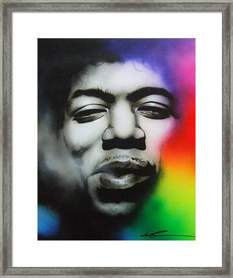 Jimi Hendrix - ' Well I Stand Up Next To A Mountain ' Framed Print
