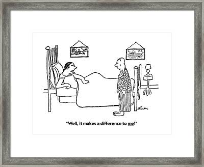 Well, It Makes A Difference To Me! Framed Print by James Thurber