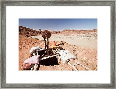 Well Next To Dry Riverbed Framed Print by Ashley Cooper