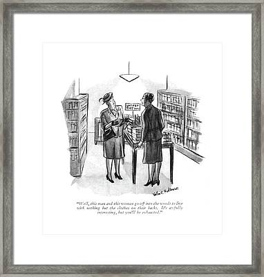 Well, This Man And This Woman Go Framed Print by Helen E. Hokinson