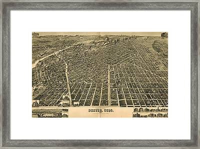 Wellge's Birdseye Map Of Denver Colorado - 1889 Framed Print