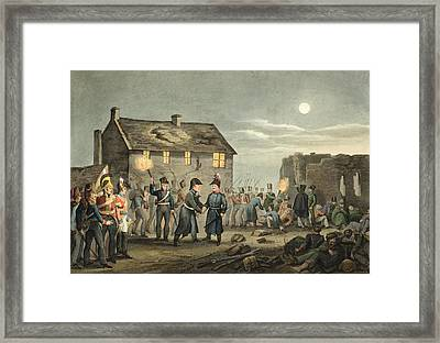 Wellington And Blucher Meeting Framed Print by John Augustus Atkinson