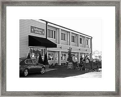 Wellingtons Wine Bar Bw Framed Print by Connie Fox