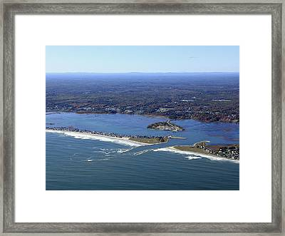 Wells Beach And Wells Harbor, Wells Framed Print by Dave Cleaveland