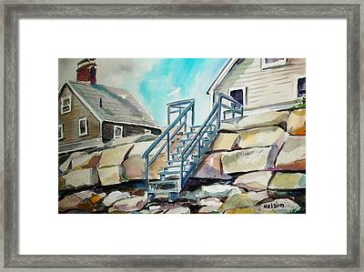 Wells Beach Beach Stairs Framed Print by Scott Nelson