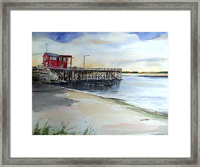 Wells Harbor Dock Framed Print by Scott Nelson