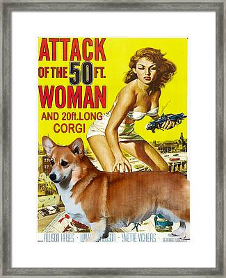 Welsh Corgi Pembroke Art Canvas Print - Attack Of The 50ft Woman Movie Poster Framed Print