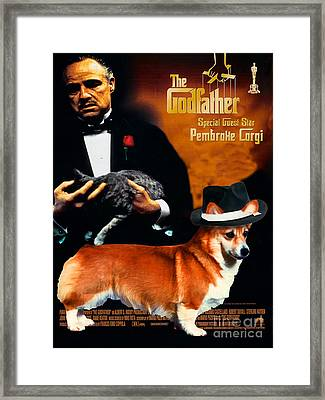 Welsh Corgi Pembroke Art Canvas Print - The Godfather Movie Poster Framed Print by Sandra Sij
