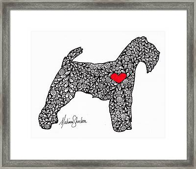 Framed Print featuring the drawing Welsh Terrier by Melissa Sherbon