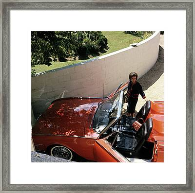 Wendy Vanderbilt With A Thunderbird Convertible Framed Print