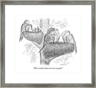 We're Ecstatic About Our New Au Pair Framed Print by Edward Koren