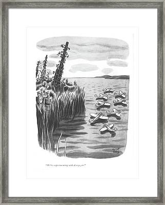 We're Experimenting With Decoys Framed Print by Robert J. Day