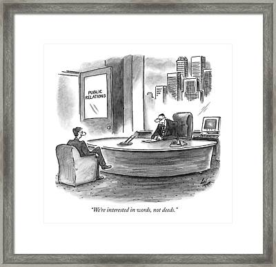 We're Interested In Words Framed Print by Frank Cotham