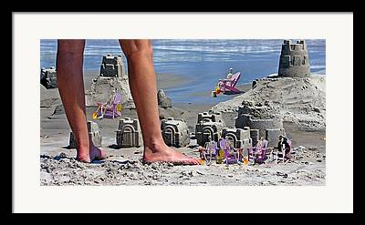 Sand Castles Digital Art Framed Prints