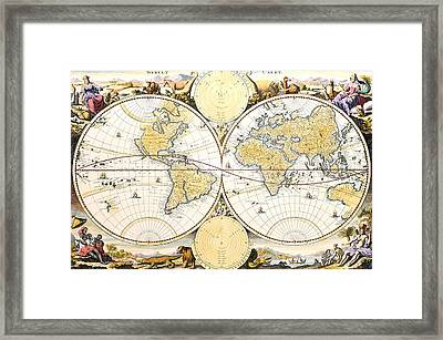Antique World Map Framed Print by Nicolaes the Elder Visscher