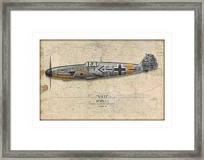 Werner Molders Messerschmitt Bf-109 - Map Background Framed Print by Craig Tinder