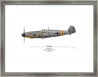 Werner Molders Messerschmitt Bf-109 - White Background Framed Print by Craig Tinder