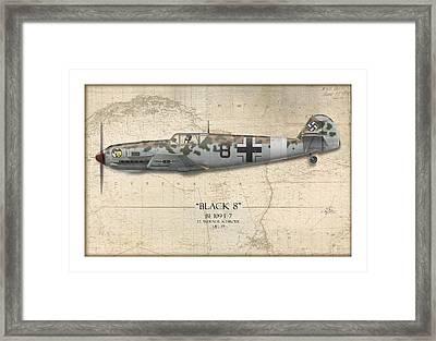 Werner Schroer Messerschmitt Bf-109 - Map Background Framed Print