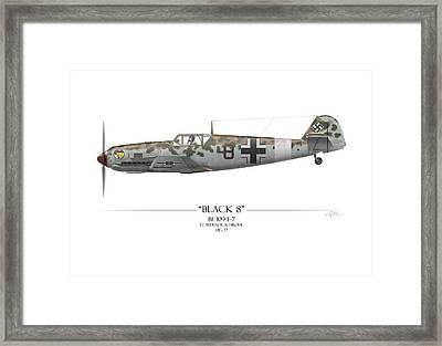 Werner Schroer Messerschmitt Bf-109 - White Background Framed Print by Craig Tinder
