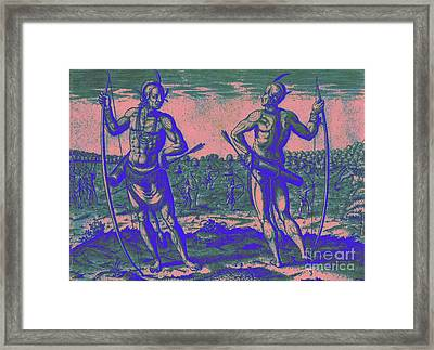Framed Print featuring the drawing Weroans Of Virginia 1590 by Peter Gumaer Ogden