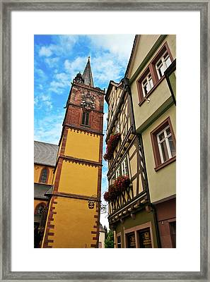 Wertheim, Franconia, Germany, A Clock Framed Print by Miva Stock
