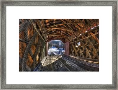 West Arlington Covered Bridge - Bennington Vermont Framed Print by Joann Vitali