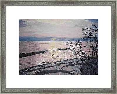 Framed Print featuring the painting West Coast Sunset by Hilda and Jose Garrancho