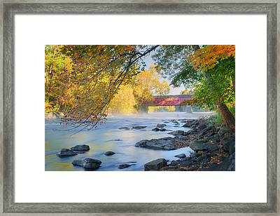 West Cornwall Covered Bridge Autumn Framed Print by Bill Wakeley