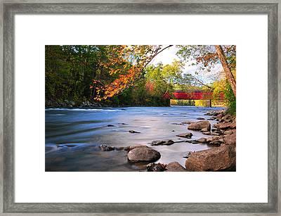 West Cornwall Covered Bridge- Autumn  Framed Print