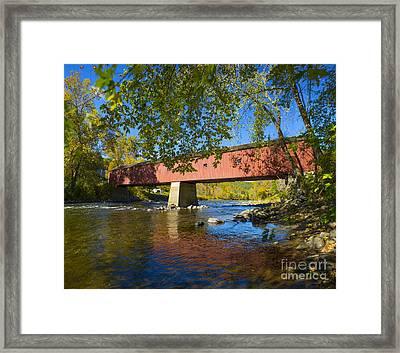 West Cornwall Covered Bridge Framed Print by Diane Diederich