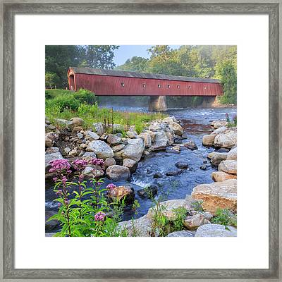 West Cornwall Covered Bridge Square Framed Print by Bill Wakeley