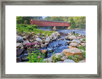 West Cornwall Covered Bridge Summer Framed Print by Bill Wakeley