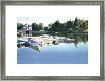 West Falmouth Harbor Taxi Stand Framed Print by Julia O'Malley-Keyes