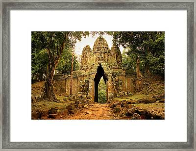 West Gate To Angkor Thom Framed Print by Artur Bogacki