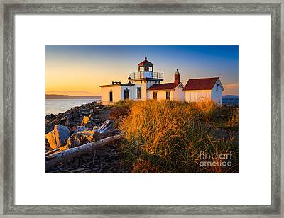West Point Lighthouse Framed Print by Inge Johnsson
