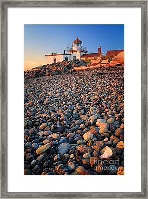 West Point Lighthouse Rocks Framed Print
