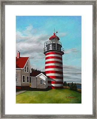 West Quoddy Head Lighthouse Framed Print by Eileen Patten Oliver