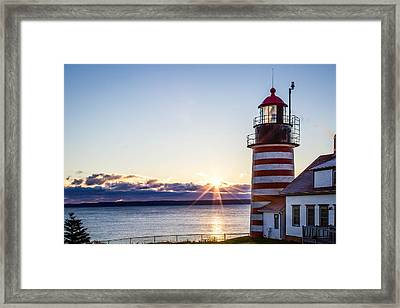 West Quoddy Head Lighthouse Sunrise  Framed Print