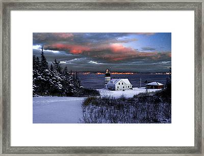 West Quoddy Head Lighthouse Winters Dusk Afterglow Framed Print by Marty Saccone