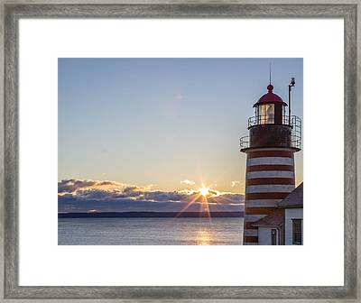 Framed Print featuring the photograph West Quoddy Lighthouse Sunrise by Trace Kittrell