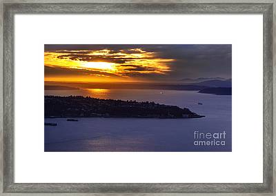 West Seattle Soaring Sunset Framed Print by Mike Reid