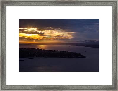 West Seattle Sunset Sunstar Framed Print by Mike Reid
