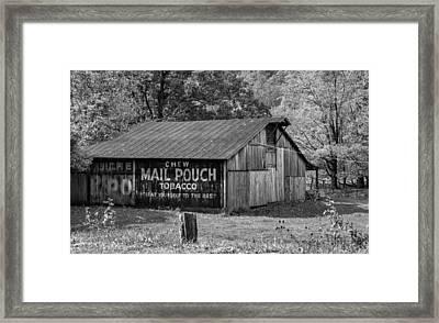 West Virginia Barn Monchrome Framed Print by Steve Harrington